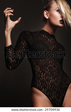 Vogue style photo of a vampire beauty - stock photo