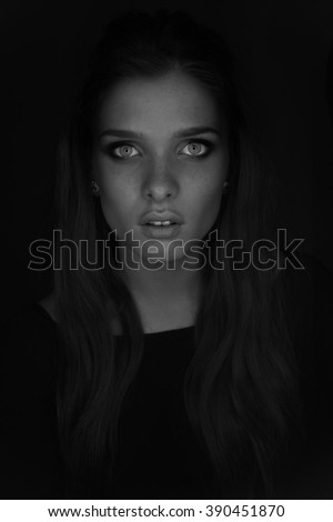 Vogue style photo of sensual womanwith blue eyes and freackles black and white  - stock photo