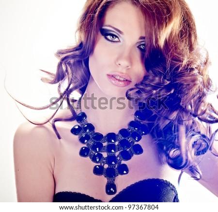 vogue style portrait of delicate brunette woman - stock photo