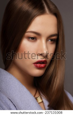 Vogue Style. Portrait of Young Luxurious Posh Woman - stock photo