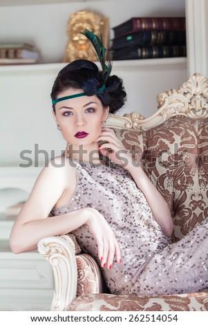Vogue style vintage portrait. Chicago. Retro-stylized woman - stock photo