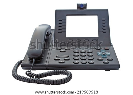Voice over IP phone with large blank screen for your own logo or message with a clipping path on an isolated background - stock photo