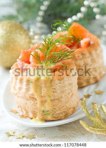 ... -au-vents with smoked salmon and sauce, selective focus - stock photo