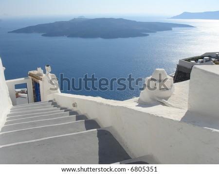 volcan view from Santorini greece island - europe travel - stock photo