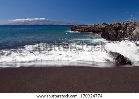 Volcanic beach in Tenerife. Nature ocean  - stock photo