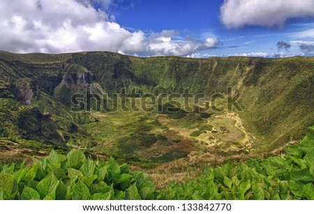 Volcanic Caldeira of Faial, Azores - HDR image - stock photo