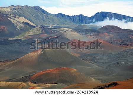 Volcanic cinder cones - Haleakala National Park, Maui, Hawaii - stock photo