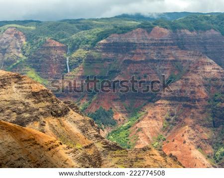 Volcanic cliffs of Waimea Canyon, Kauai, Hawaii - stock photo