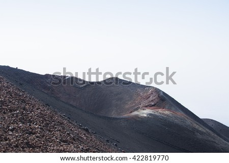 Volcanic crater, Mount Etna, Sicily, Italy - stock photo