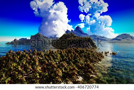volcanic eruption on tropical island, 3d illustration - stock photo