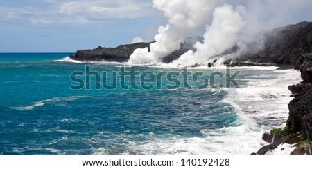 Volcanic hazards in Hawaii - stock photo