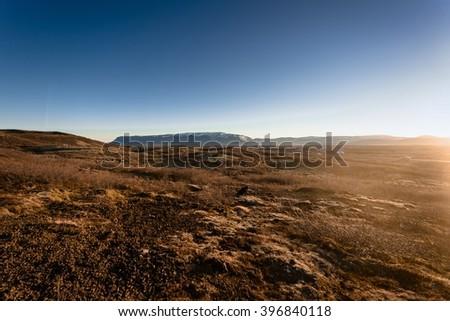 Volcanic icelandic landscape - stock photo