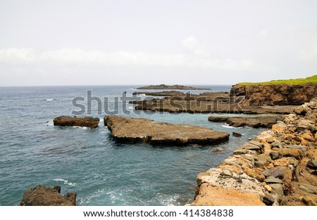 Volcanic islets on the clear waters near the shores of the island of Brava, Cabo Verde