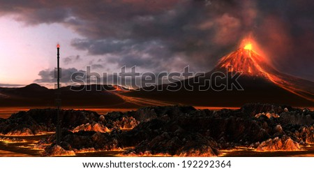 Volcanic Landscape - An active volcano spews out billowing smoke and rivers of red hot lava. - stock photo