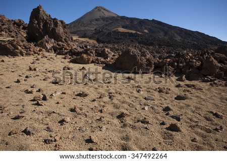 Volcanic landscape  and old lava fields and rocks of Pico de Teide volcano