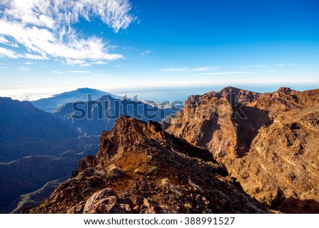 Volcanic landscape from Muchachos view point on Taburiente national park on La Palma island in Spain