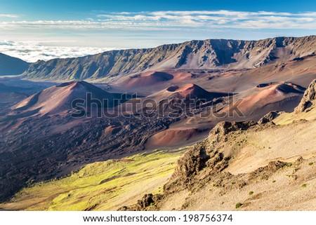Volcanic landscape from the Kalahaku overlook at the summit of Haleakala, Maui, hawaii - stock photo