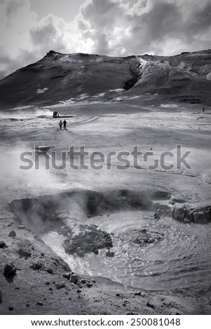 Volcanic landscape in Iceland - Namafjall, Hverir. Boiling mud and sulphuric formations. Black and white tone - retro monochrome color style. - stock photo