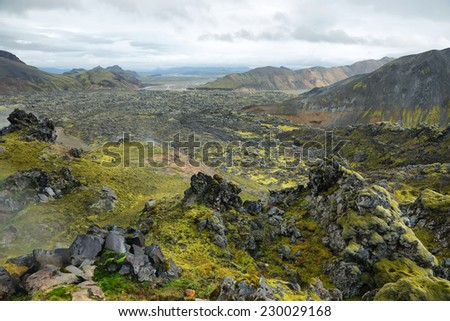 Volcanic landscape in Landmannalaugar, Iceland - stock photo