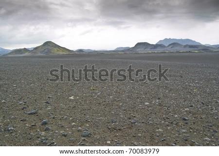 Volcanic landscape in Landmannalaugar (Natural Park of Fjallbak, Iceland) - stock photo