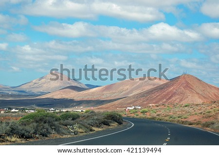 volcanic landscape in lanzarote, canary island - stock photo