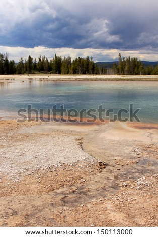 Volcanic landscape in Yellowstone National Park, Wyoming, USA. - stock photo