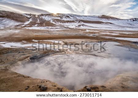 Volcanic landscape Namafjall , iceland - stock photo