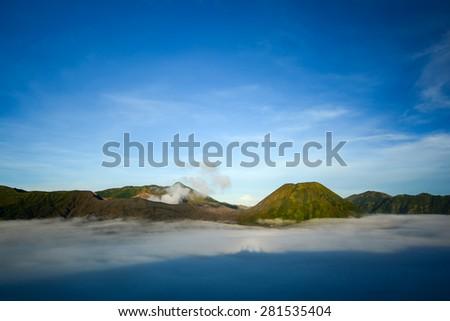 Volcanic landscape of bromo tengger semeru national park on Java island, Indonesia - stock photo