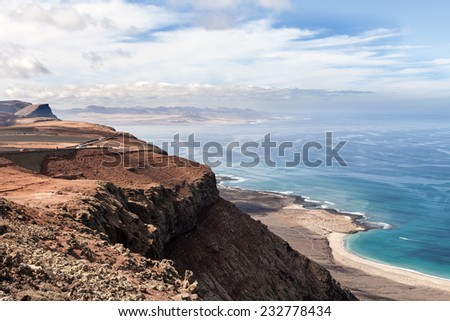 Volcanic landscape of Lanzarote, Canary Islands, Spain. - stock photo