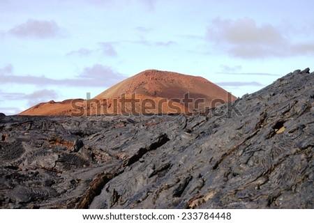 Volcanic landscape of Santiago island - stock photo