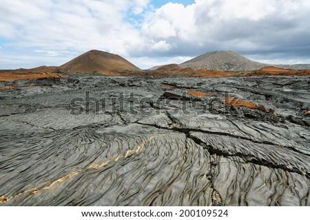 Volcanic landscape of Santiago island, Galapagos, Ecuador - stock photo