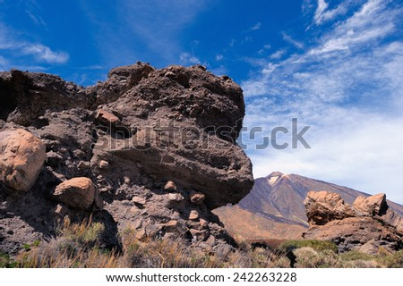 Volcanic landscape of Teide National Park. Tenerife, Canary Islands - stock photo