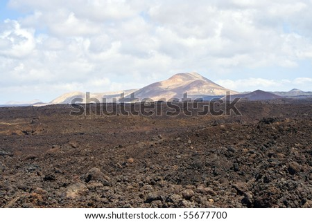 volcanic landscape under the extincted volcano - stock photo