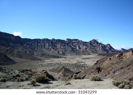 "Volcanic ""moon"" landscape on Teide, Tenerife, Spain. - stock photo"