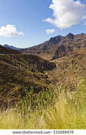 Volcanic mountain and valley landscape at Gran Canary in Spain.