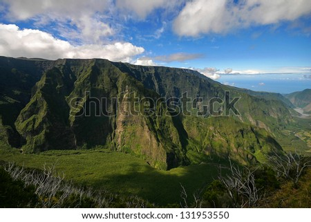 Volcanic mountain cliff in La Reunion Island - stock photo