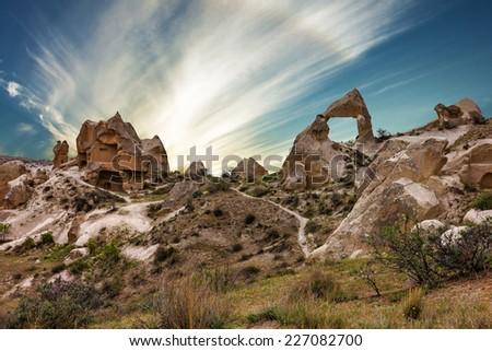 Volcanic mountains, Cappadocia, Anatolia, Turkey. Goreme national park. - stock photo