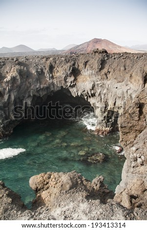 Volcanic mountains, Timanfaya National Park in Lanzarote Island - stock photo