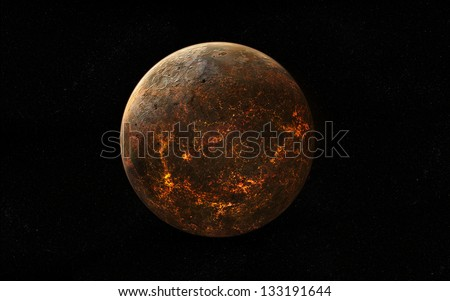 Volcanic planet covered in lava rivers