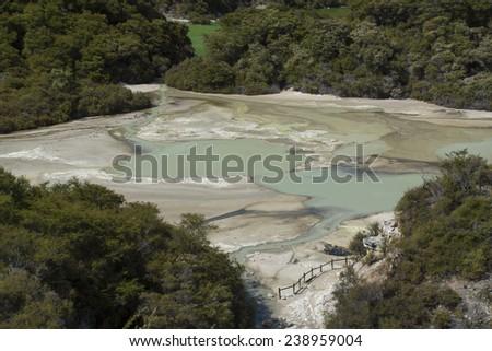 Volcanic pool. New Zealand near Rotorua - stock photo
