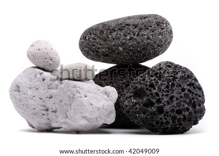 Volcanic Pumice over white background - stock photo