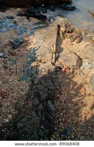 Volcanic stones in India - stock photo