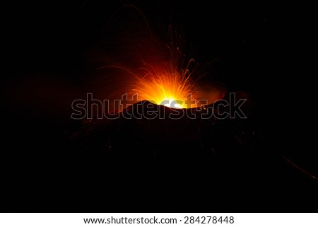 Volcano activity -2015 Etna eruption, motion blur - stock photo
