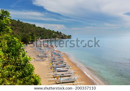 Volcano Agung and Amed beach, Bali, Indonesia - stock photo