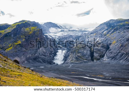 Volcano and ice cap of Eyjafjallajokull in Iceland, which erupted in 2010 sending torrents of water down the valley and covering the area with black ash