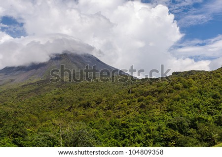 Volcano Arenal on a cloudy day, Costa Rica - stock photo