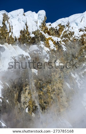 Volcano at the top of Mount Baker with Steam Vents and Rocks - stock photo