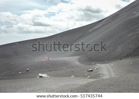 Volcano boarding is a super fun activity for adventurous travelers. Cerro Negro Volcano near Leon, Nicaragua. Central America