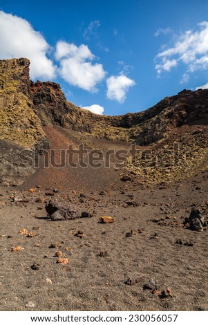 Volcano crater in Lanzarote, Canary Islands, Spain.