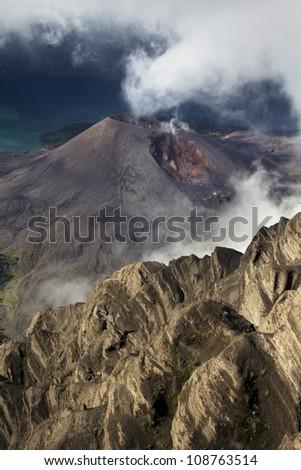Volcano crater, Mount Rinjani,Lombok - stock photo